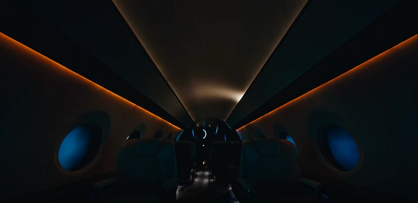 Airplane Cabin with Heads Up Technologies most innovative LED Lighting System