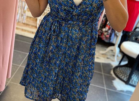 Robe courte fleurie bleue