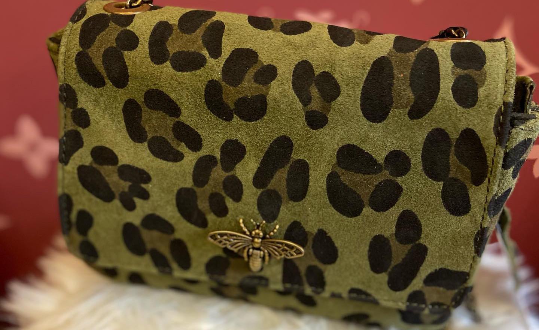 sac en cuir léopard kaki