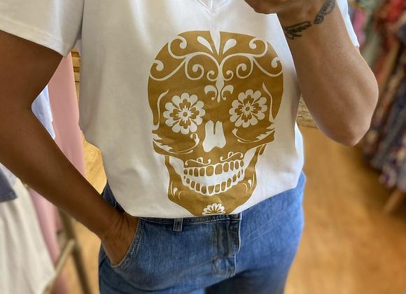T-shirt tête de mort mexicaine dorée