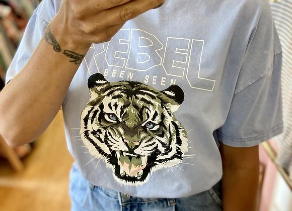 T-shirt bleu azur tigre