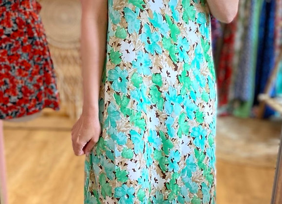 Robe longue fleurie verte