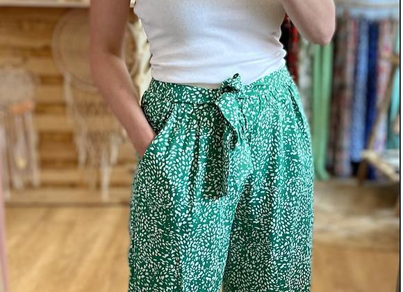 Pantalon fluide vert émeraude