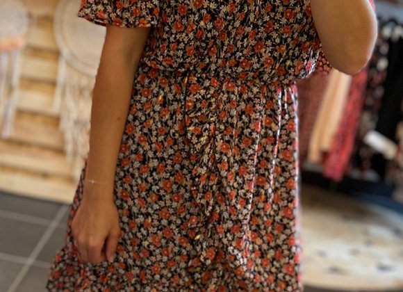 Robe courte fleurie rouge