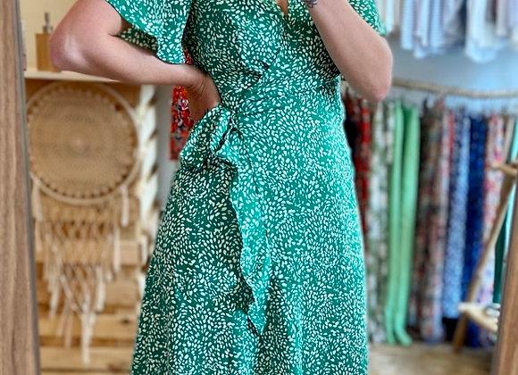 Robe portefeuille vert émeraude