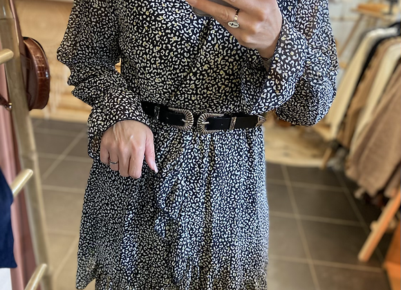 Robe courte léopard noire