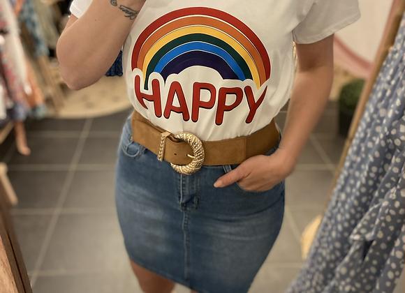 T-shirt blanc HAPPY