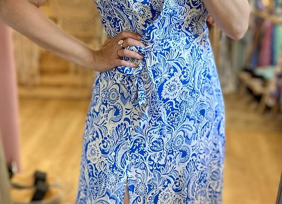 Robe longue motif feuillage