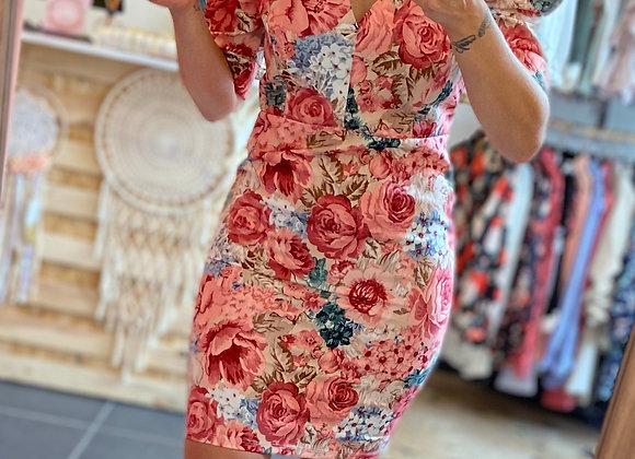 Robe imprimés fleurs blush