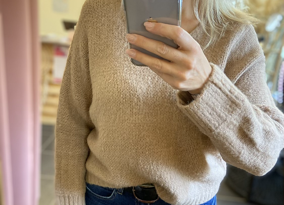 Pull maille camel