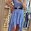 Thumbnail: Robe asymétrique fleurie bleue