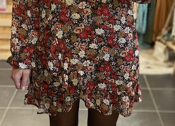 Robe imprimé fleurs rouges