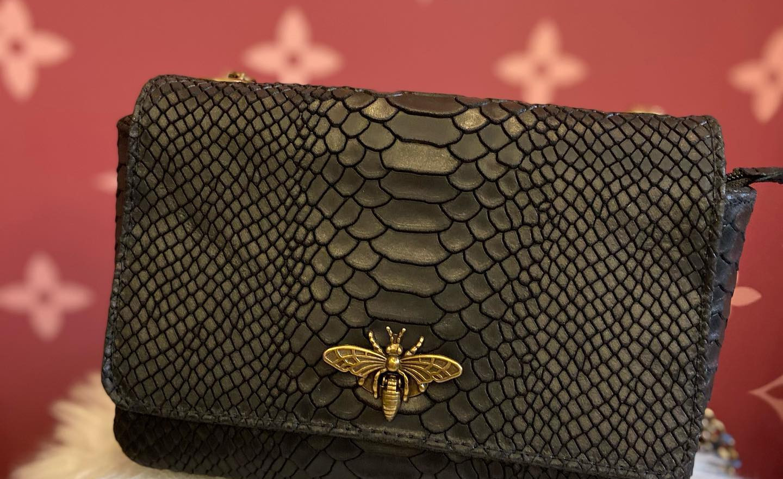 sac en cuir croco noir