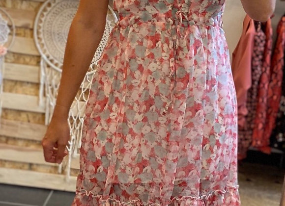 Robe mi-longue à fleurs