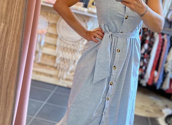Robe longue boutonnée bleue