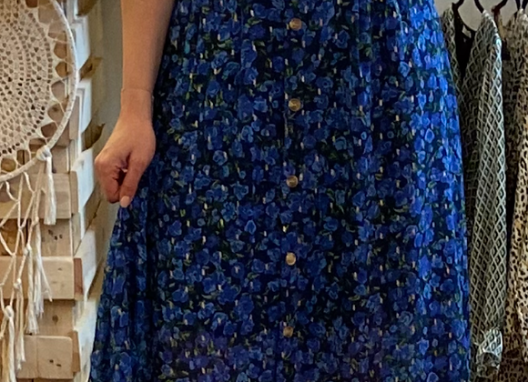 Jupe longue fleurie bleu roi