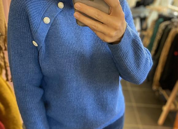 Pull bleu roi bijoux