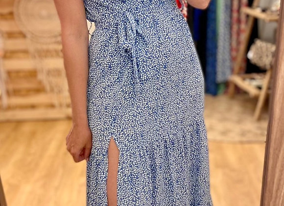 Robe longue fleurie bleue