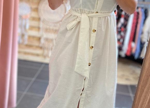 Robe longue boutonnée blanche