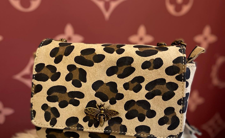 sac en cuir léopard beige