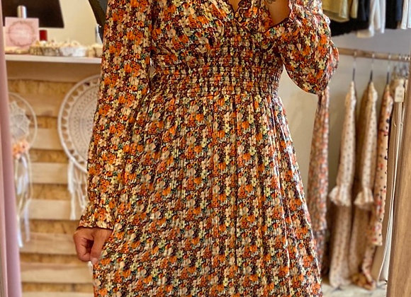 Robe courte orange fleurie