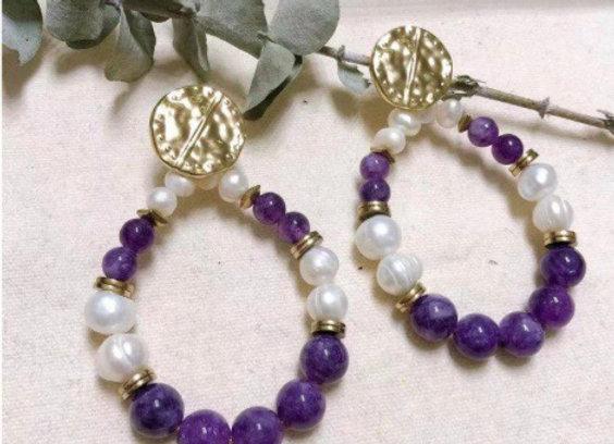 BO perles pierres violettes