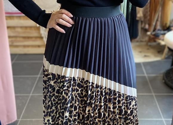 Jupe plissée léopard
