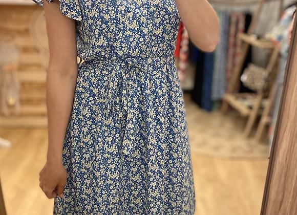Robe courte bleue fleurie
