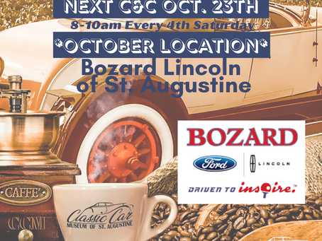 Cars & Coffee - Bozard Lincoln of St. Augustine Oct. 23 (8-10am)