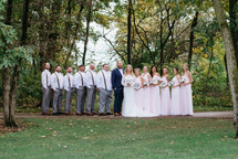 The Birkman's bridal party formal portrait. Taken at the Timber Pointe Golf Club in Poplar Grove, Illinois.