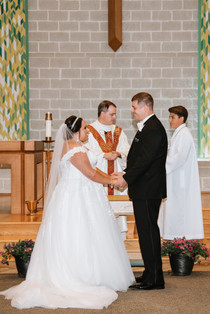 About to become Mr. and Mrs. Pattara. Taken at St James the Apostle Catholic Church in Glen Ellyn, Illinois.