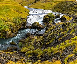 Waterfall above Skogafoss in Iceland