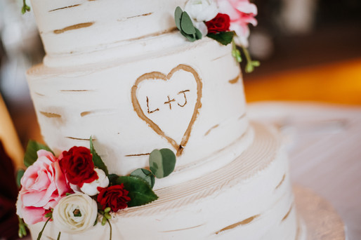 Leanna and Remy's rustic wood-inspired wedding cake. Taken at the Randall Oaks Golf Club In West Dundee, Illinois.