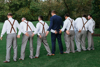 The groom, Bryan, with his groomsmen. Taken at the Timber Pointe Golf Club in Poplar Grove, Illinois.