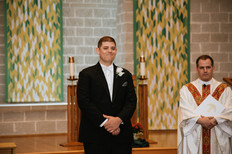 Ed awaiting his bride, Kathryn. Taken at St James the Apostle Catholic Church in Glen Ellyn, Illinois.