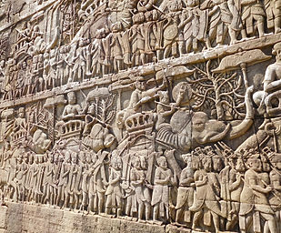 Relief at Bayon Temple in Siem Reap, Cambodia