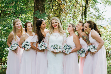 The bride and her bridesmaids. Taken at the Timber Pointe Golf Club in Poplar Grove, Illinois.