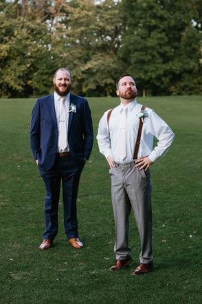 """The groom, Bryan, with one of his """"shorter"""" groomsmen. Taken at the Timber Pointe Golf Club in Poplar Grove, Illinois."""