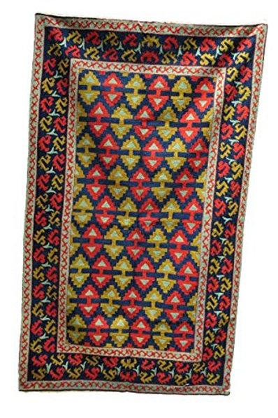 Kotsa | Silk Carpet | Kashmiri Handmade Silk Carpet | Geometric Carpet KC23