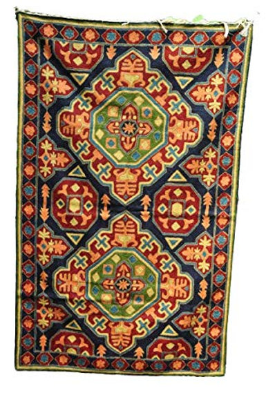 Kotsa   Silk Carpet   Kashmiri Handmade Silk Carpet   Geometric Carpet KC16