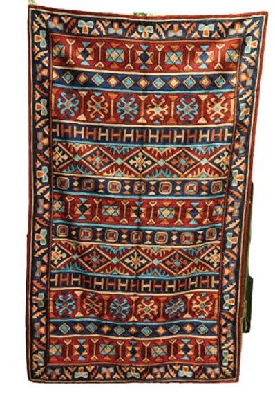 Kotsa | Silk Carpet | Kashmiri Handmade Silk Carpet | Geometric Carpet KC27