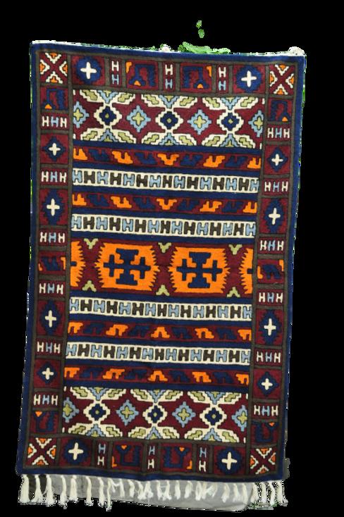 Kotsa   Silk Carpet   Kashmiri Handmade Silk Carpet   Geometric Carpet KC30