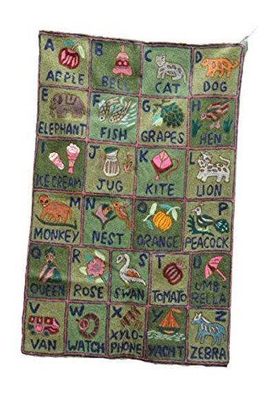 Kotsa | Silk Carpet | Kashmiri Handmade Silk Carpet | Alphabet Carpet KC08
