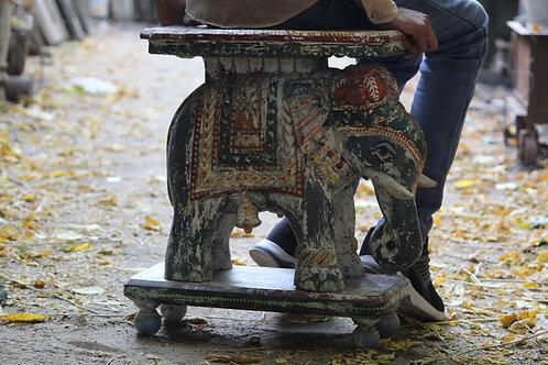 Indian Vintage Unique Home Decor Decorative Wooden Elephant Table