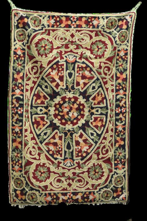 Kotsa   Silk Carpet   Kashmiri Handmade Silk Carpet   Flower Pattern Carpet KC33