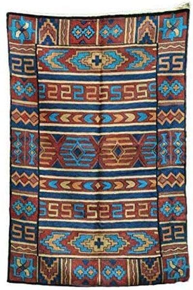 Kotsa   Silk Carpet   Kashmiri Handmade Silk Carpet   Geometric Carpet KC06