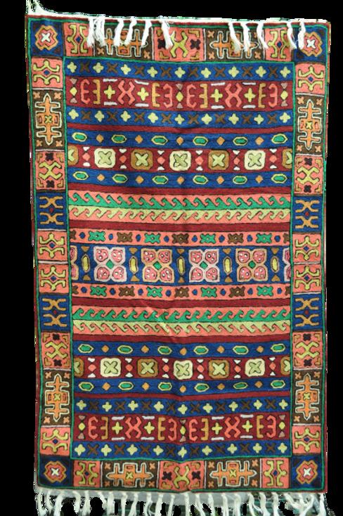 Kotsa | Silk Carpet | Kashmiri Handmade Silk Carpet | Geometric  Carpet KC34