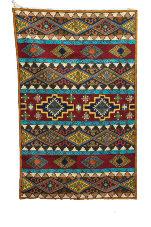 Kotsa | Silk Carpet | Kashmiri Handmade Silk Carpet | Geometric Carpet KC36