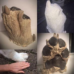 dog paw freestanding 3d cast