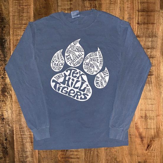 Long Sleeve Blue Paw Shirt